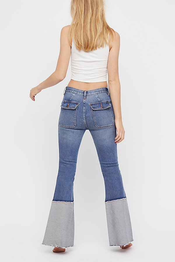 Slide View 3: Cuffed Stacked Flare Jeans