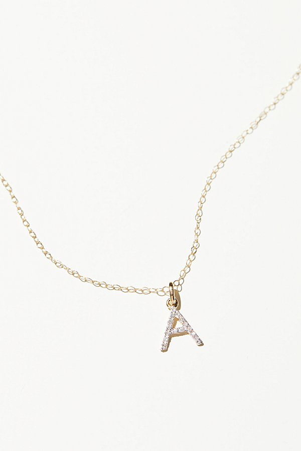 Slide View 2: 14k Diamond Initial Necklace