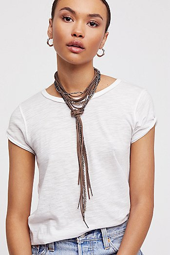 Leather x Raw Stone Bolo Necklace