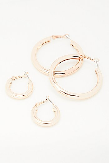Classic Tube Hoop Earring Set