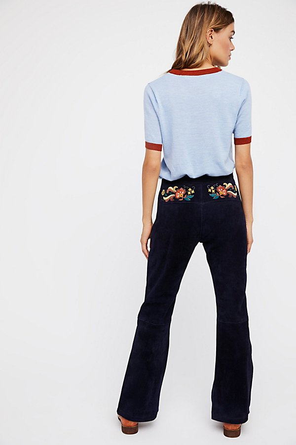 Slide View 1: Embroidered Suede Trouser