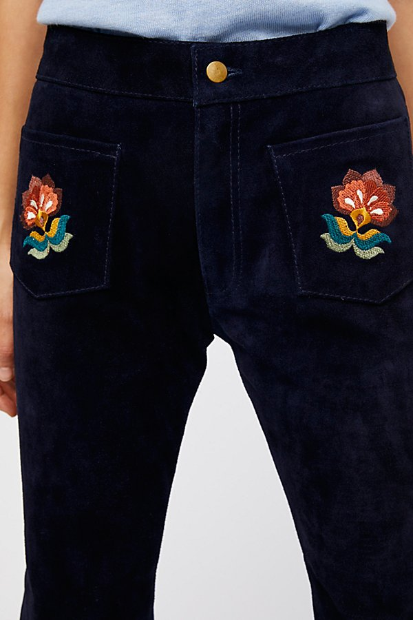Slide View 4: Embroidered Suede Trouser