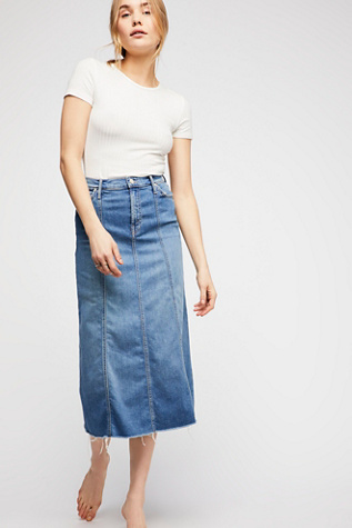 Mother High Waisted Super Panel Fray Skirt by Free People