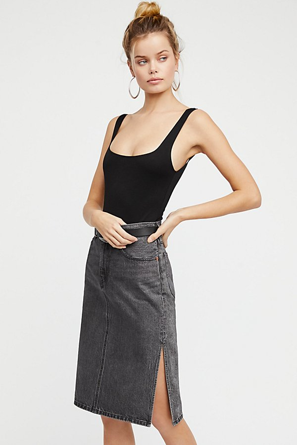 Slide View 1: Side Slit Denim Skirt