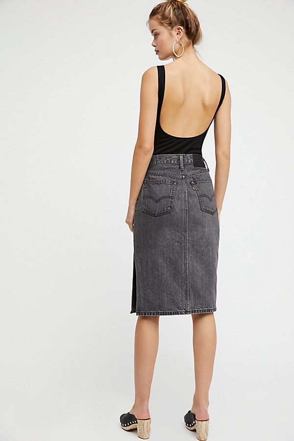 Slide View 2: Side Slit Denim Skirt