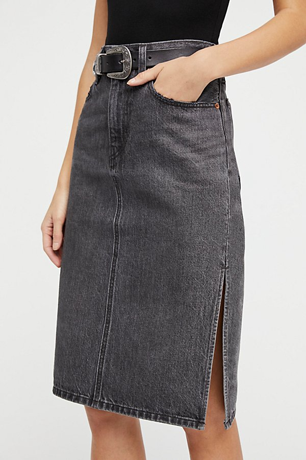 Slide View 3: Side Slit Denim Skirt