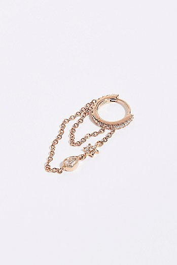 Diamond Eternity Flower and Tear Drop Chain Hoop Earring