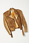 Thumbnail View 1: Vintage 1980s Gold Moto Jacket