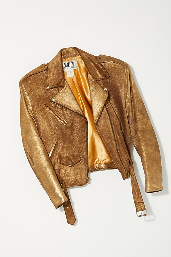 Slide View 1: Vintage 1980s Gold Moto Jacket