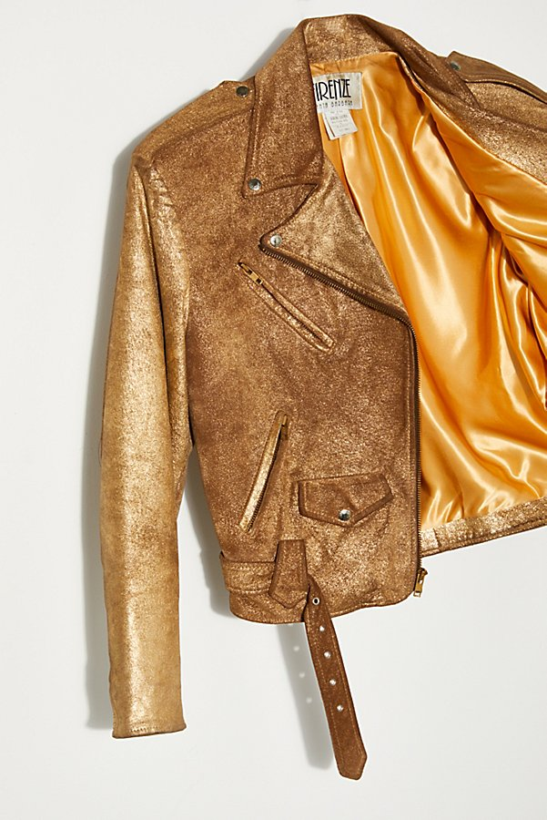 Slide View 2: Vintage 1980s Gold Moto Jacket