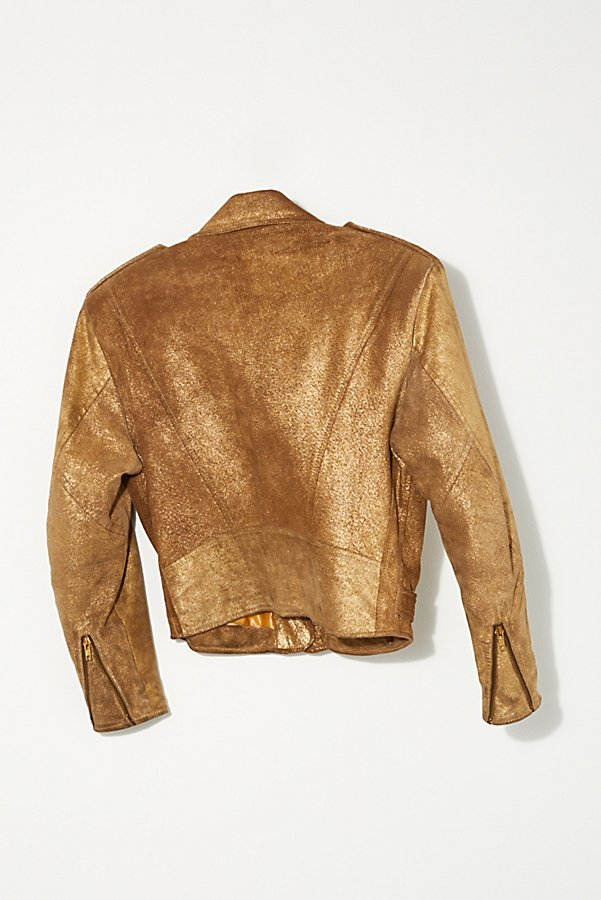 Slide View 4: Vintage 1980s Gold Moto Jacket