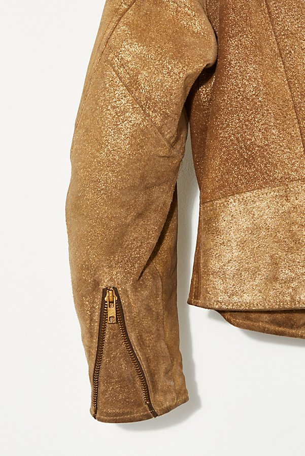 Slide View 5: Vintage 1980s Gold Moto Jacket
