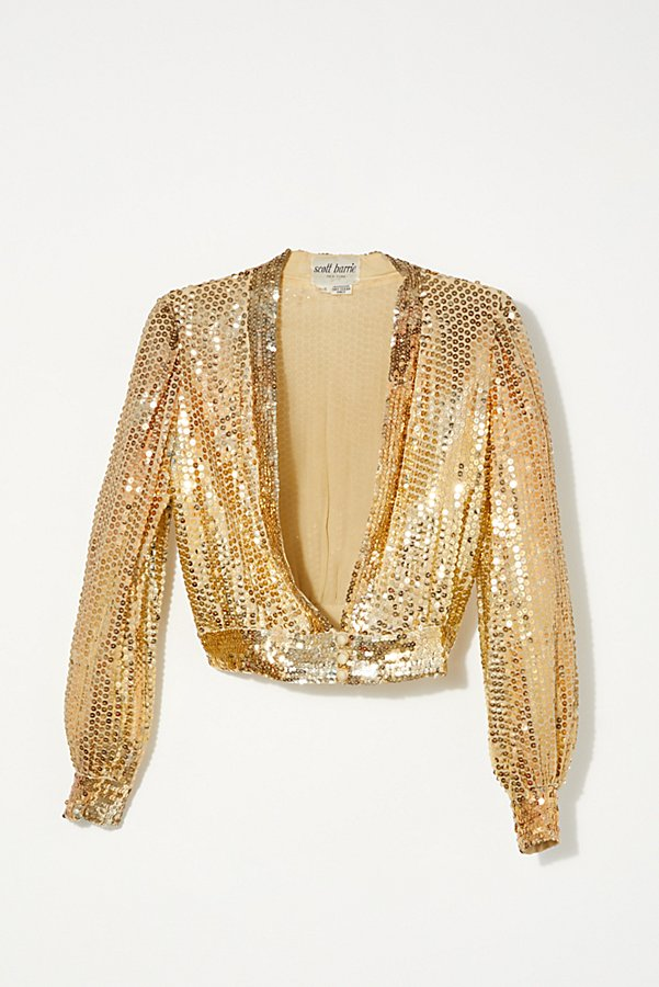 Slide View 1: Vintage 1970s Gold Sequin Top