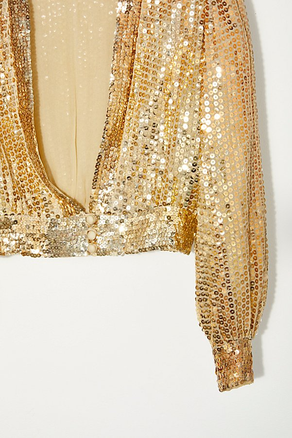 Slide View 2: Vintage 1970s Gold Sequin Top