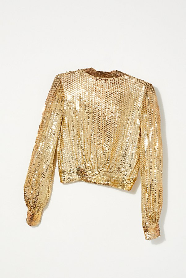 Slide View 4: Vintage 1970s Gold Sequin Top