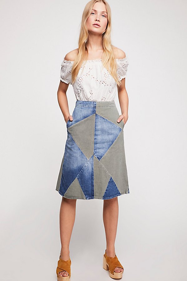 Slide View 4: Etienne Marcel Two Toned Patch Skirt