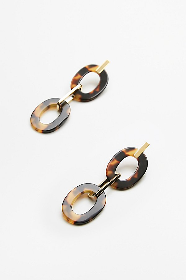 Slide View 2: Resin Link Drop Hoop Earrings