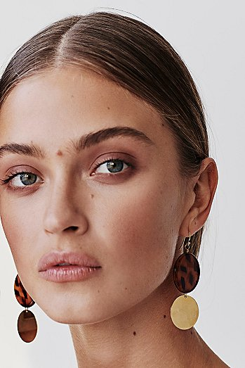 Resin Disc Drop Hoop Earrings