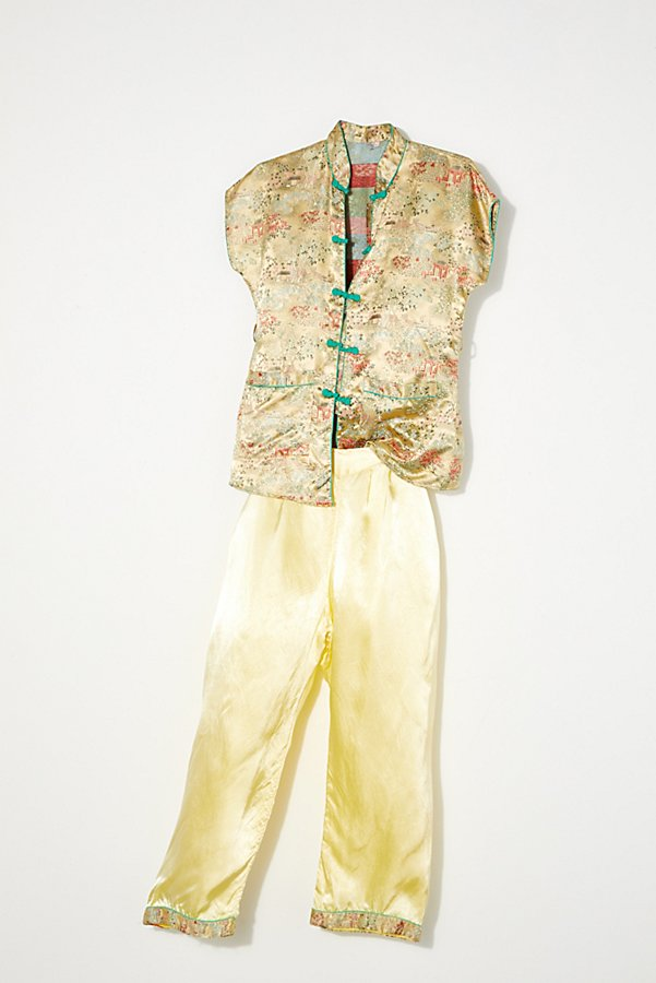 Slide View 1: Vintage 1970s Silk Pajama Set