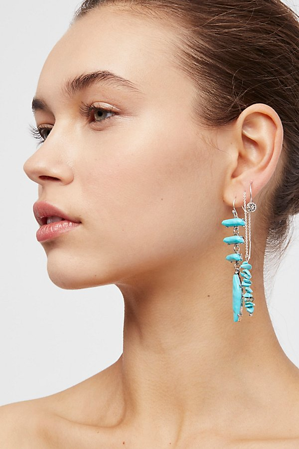 Slide View 1: Raw Stone Threader Earring Set