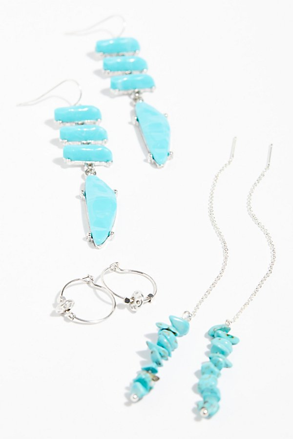 Slide View 2: Raw Stone Threader Earring Set