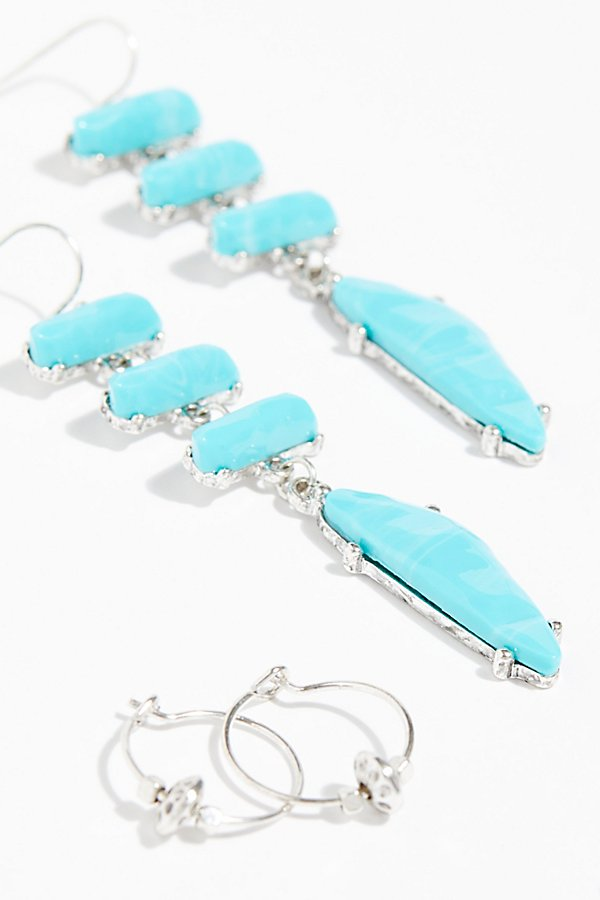 Slide View 3: Raw Stone Threader Earring Set