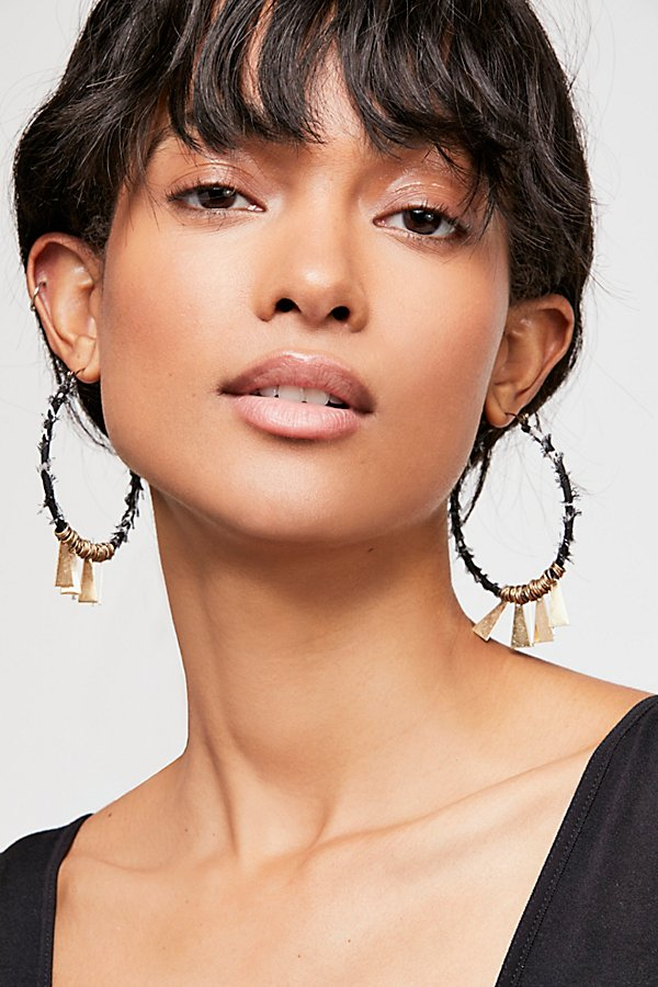 Slide View 1: Fabric Wrapped Hoop Earrings