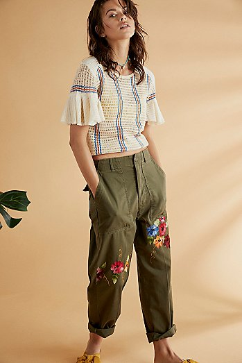 Embroidered Military Pant
