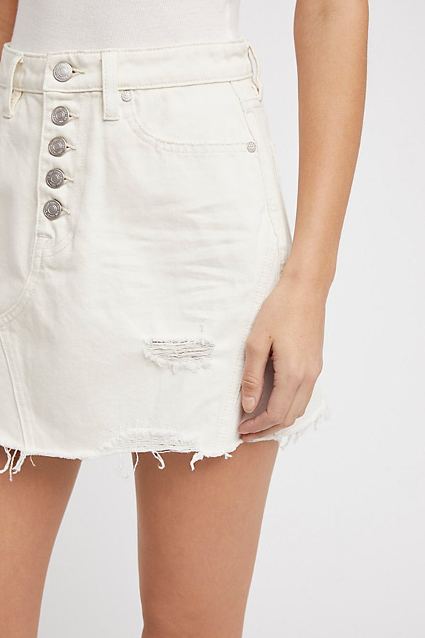 Slide View 3: Denim A-Line Skirt