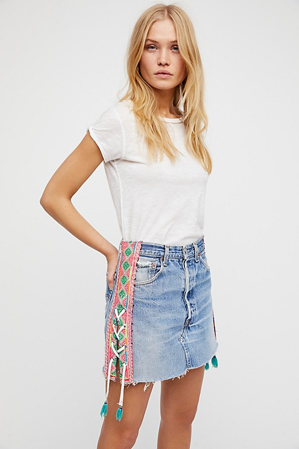Slide View 1: Tricia Fix Lace-Up Denim Skirt
