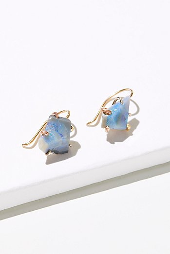 Raw Australian Opal Hook Earrings