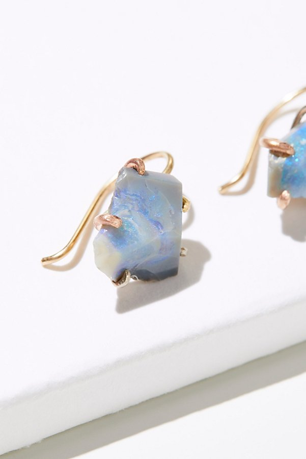Slide View 2: Raw Australian Opal Hook Earrings