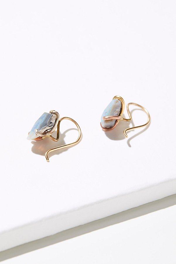 Slide View 3: Raw Australian Opal Hook Earrings