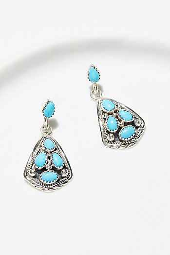 Turquoise Cluster Trillion Earrings