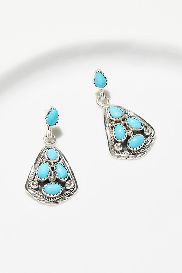 Slide View 1: Turquoise Cluster Trillion Earrings