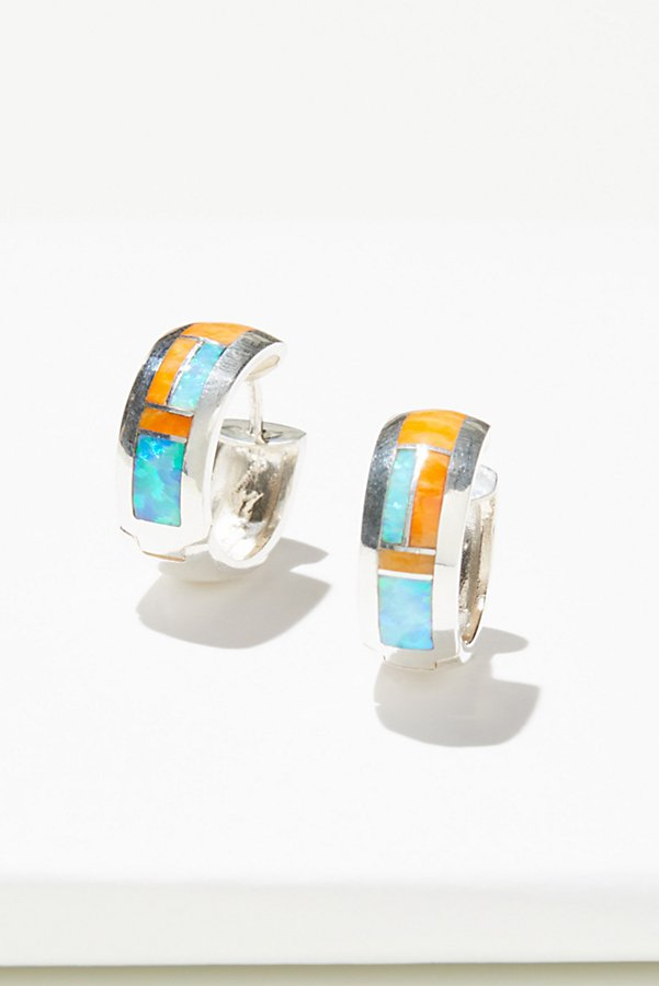 Slide View 1: Sterling Inlay Stone Huggie Hoop Earrings