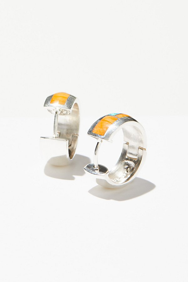 Slide View 2: Sterling Inlay Stone Huggie Hoop Earrings