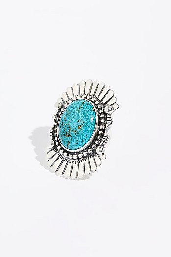 Feather Stamped Sterling Turquoise Ring