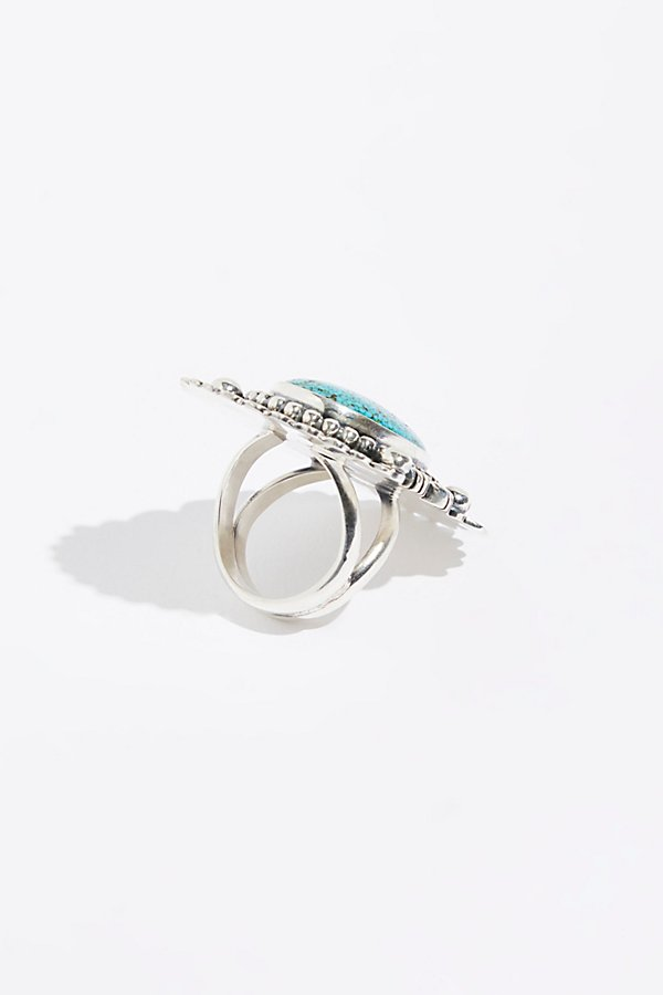 Slide View 3: Feather Stamped Sterling Turquoise Ring