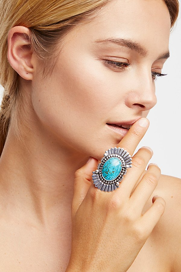 Slide View 5: Feather Stamped Sterling Turquoise Ring