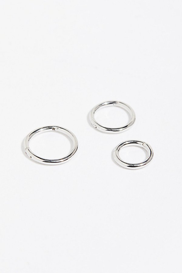 Slide View 1: 3 Pack Gold Clicker Hoop Earrings