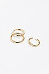 Thumbnail View 2: 3 Pack Gold Clicker Hoop Earrings