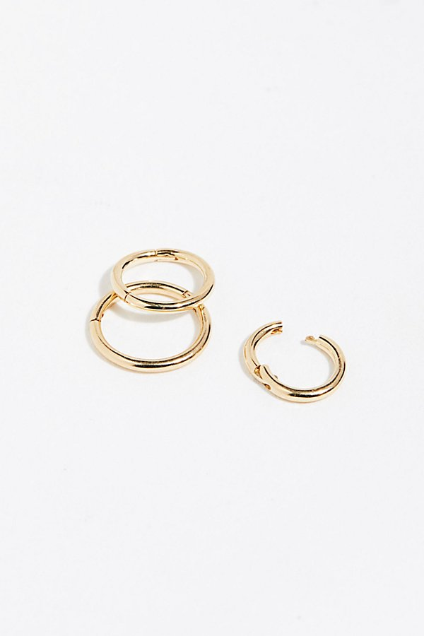 Slide View 2: 3 Pack Gold Clicker Hoop Earrings