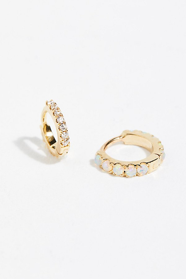 Slide View 1: 3-Pack Diamond x Opal x Solid Hoop Earrings