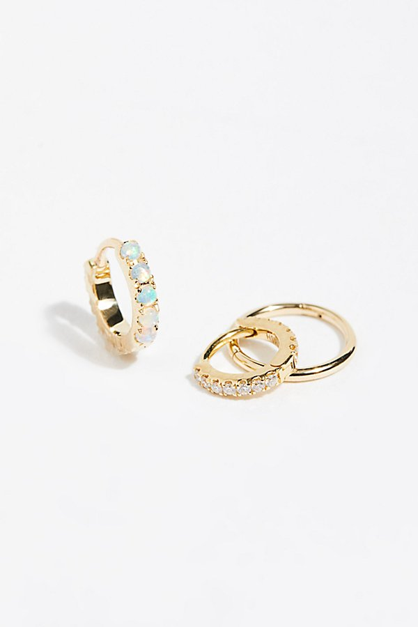 Slide View 2: 3-Pack Diamond x Opal x Solid Hoop Earrings