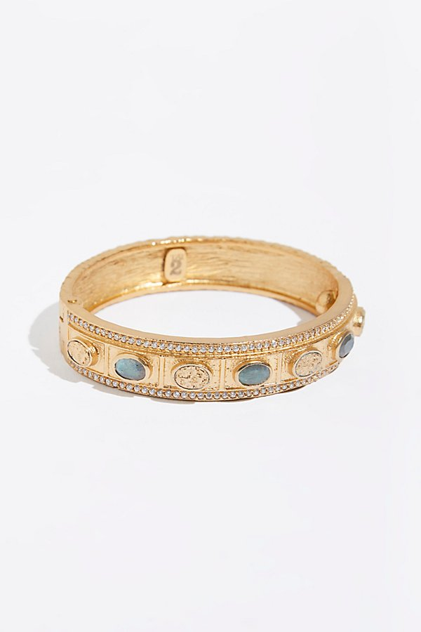 Slide View 1: Faceted Stone Bela Oval Bangle