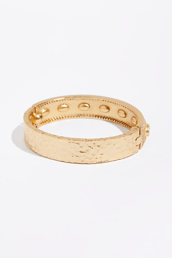 Slide View 3: Faceted Stone Bela Oval Bangle