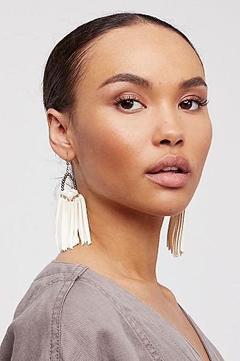 Tahiti Stone Drop Leather Hoops