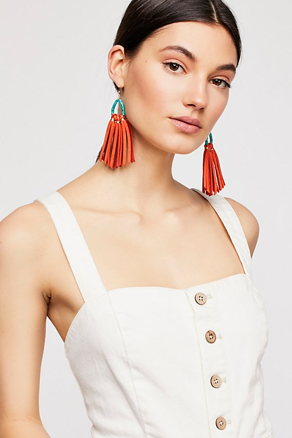 Slide View 1: Tahiti Stone Drop Leather Hoop Earrings