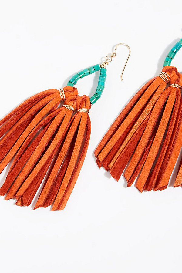 Slide View 3: Tahiti Stone Drop Leather Hoop Earrings